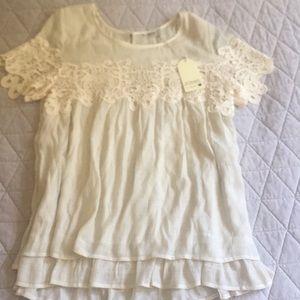 Jodifl Cream Lace Flowy Top Sz L Crochet